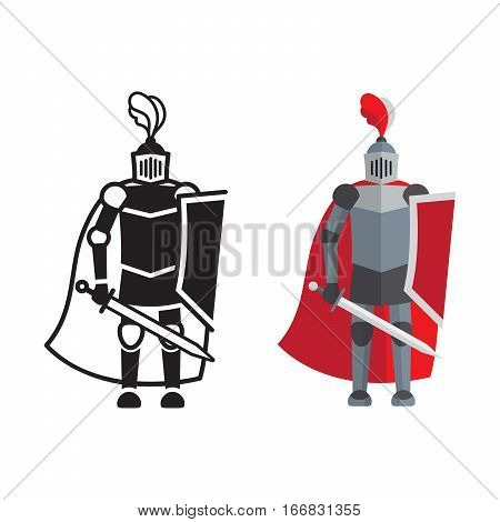 Medieval knight icon and silhouette isolated on white background. Vector illustration