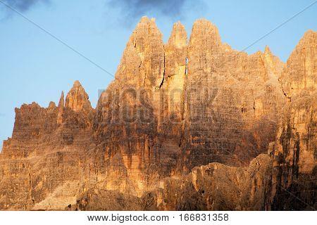 Evening view of mount Croda da Lago from passo Giau South Tirol dolomites mountains Italy