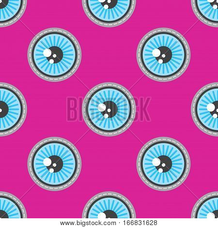 Blue eyes patch vector seamless pattern. Wallpaper with round eye illustration