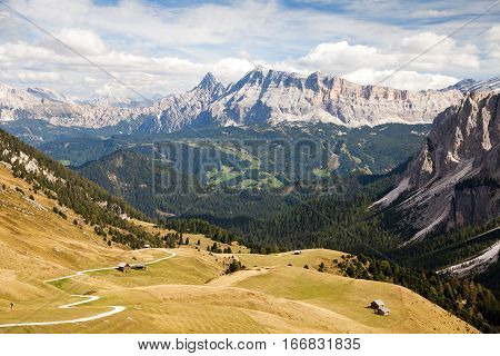 View from Dolomites mountains Kreuzkofel gruppe Itay