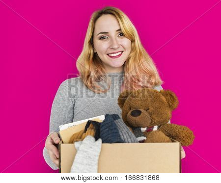 Woman Studio Portrait Casual Carrying a Box Isolated