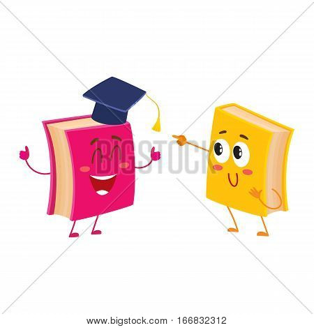 Two funny book characters running happily together, cartoon vector illustration isolated on white background. pink and yellow books hurrying, smiling, running together, school, education concept