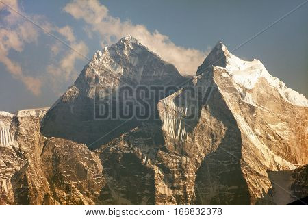 evening view of mount Kangtega and mount Thamserku trek to Everest base camp Khumbu valley Solukhumbu Sagarmatha national park Nepal