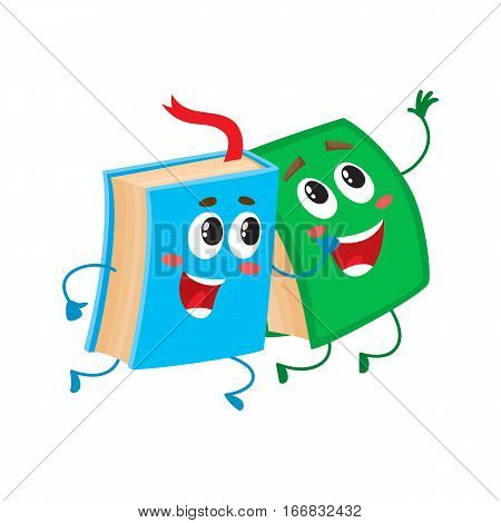 Two funny book characters running happily together, cartoon vector illustration isolated on white background. Blue and green books hurrying, smiling, running together, school, education concept