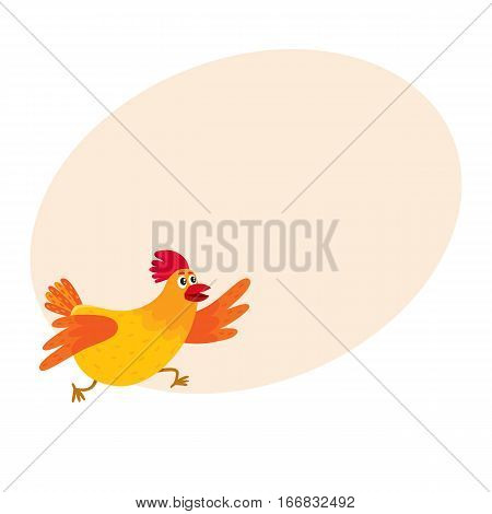 Funny cartoon red and orange chicken, hen rushing, hurrying somewhere, cartoon vector illustration on background with place for text. Cute and funny colorful chicken running somewhere enthusiastically
