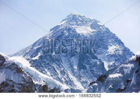 Mount Everest. View of top of Mount Everest with clouds from Kala Patthar way to mount Everest base camp Everest area khumbu valley - Nepal