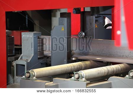 Semi-auto band saw in mechanical workshop factory