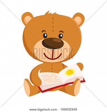 Cute traditional, retro style teddy bear character sitting and reading a book, cartoon vector illustration isolated on white background. Teddy bear character reading book