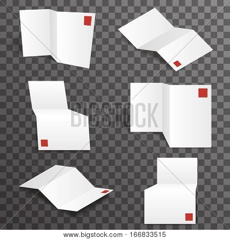 Paper white accordion different points view mockup template set transparent background design vector illustration