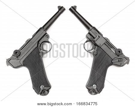 Parabellum black handgun on a white background with two sides. Weapons collection