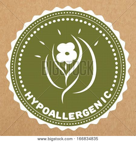 Hypoallergenic green label badge with leaves and flower for allergy safe products isolated vector object