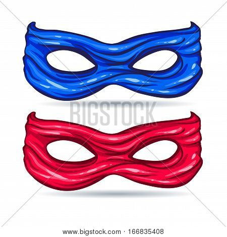 vector illustration blue and red mask for face character super hero in the style of comics caricature without background