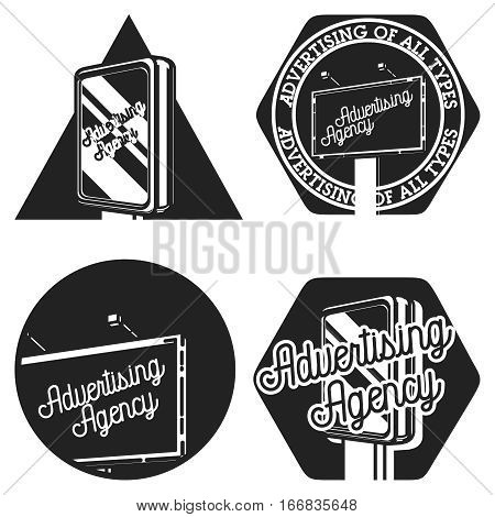 Vintage advertising agency emblems, labels, badges and design elements