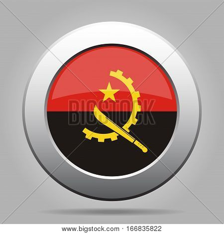 National flag of Angola. Shiny metal gray round button with shadow.