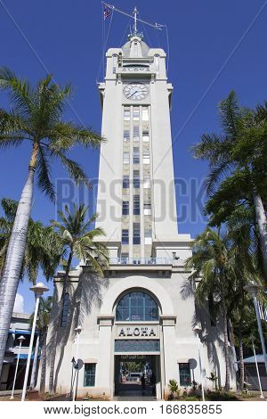 Aloha Tower built in 1926 is the historic lighthouse in the city of Honolulu (Hawaii).