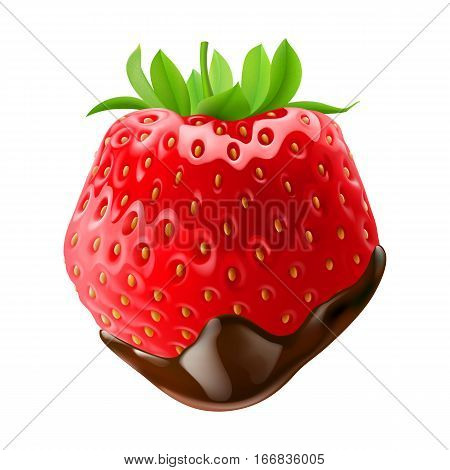 Strawberry with Leaves in Chocolate Dipping on White Background