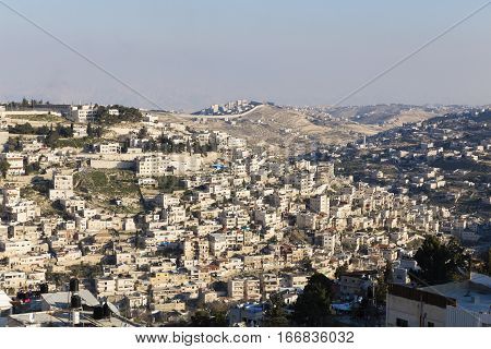 East Jerusalem with Israeli West Bank barrier Israel