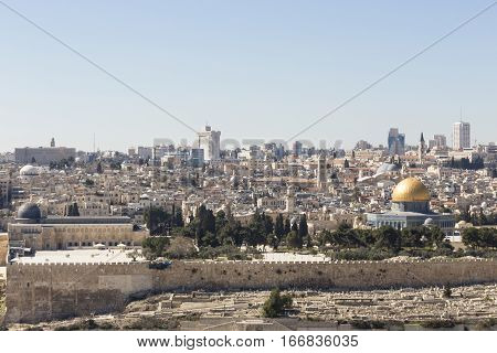 Old City of Jerusalem with temple mount dom of the rock and Al-Aqsa Mosque Israel