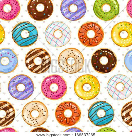 Powdered donut dessert background. Donuts and little love hearts seamless pattern. Doughnut bakery tasty illustration