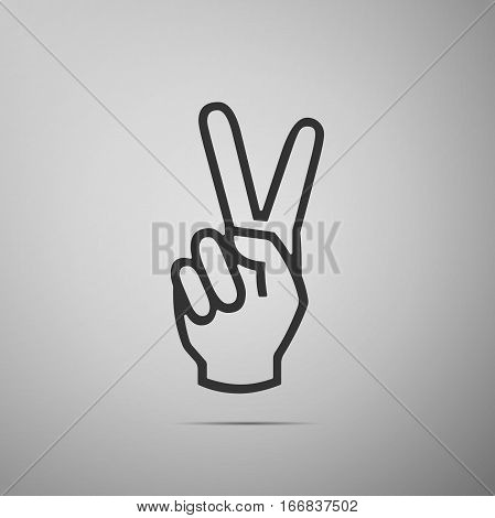Victory hand sign icon. Hand showing two finger flat icon on grey background. Vector Illustration