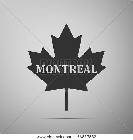Canadian maple leaf with city name Montreal flat icon on grey background. Vector Illustration