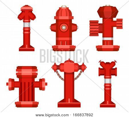 Stock Vector set of isolated red fire hydrant on a white background