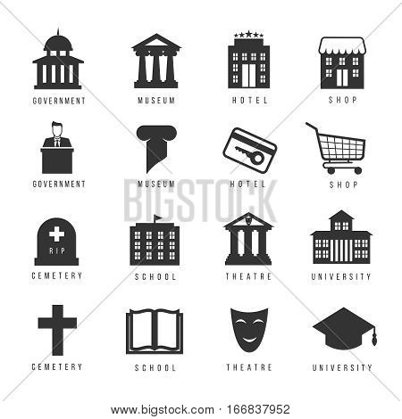 Municipal houses and icons. Town government signs. Architectural building, cemetery and museum, vector illustation