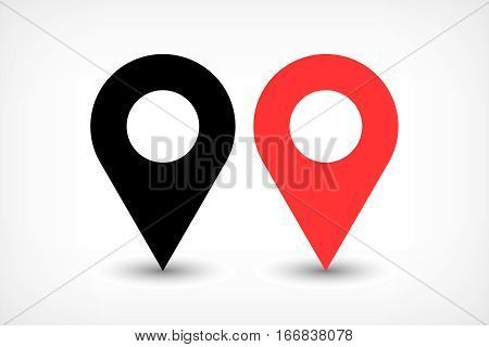 Map pin sign location icon with ellipse gray gradient shadow in flat simple style. Black and red color rounded shapes isolated on white background. Vector illustration web design element 8 EPS