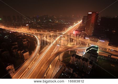 A road junction at night in Hangzhou
