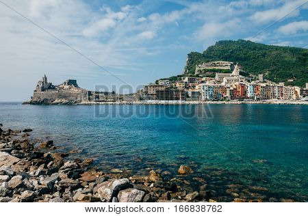 Beautiful View Of Portovenere, On The Cinque Terre Coast Of Italy, Traditional Architecture