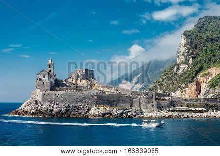 Scenic Landscape Of Gothic St. Peter's Church In Portovenere