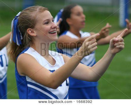 Youth Cheerleader Cheering At Game 1