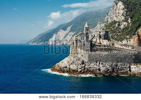 Beautiful Scenic Landscape Of Gothic St. Peter's Church In Portovenere