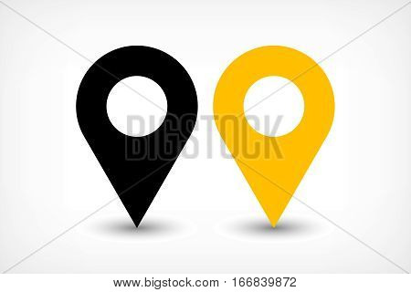 Map pin sign location icon with ellipse gray gradient shadow in flat simple style. Black and yellow color rounded shapes isolated on white background. Vector illustration web design element 8 EPS