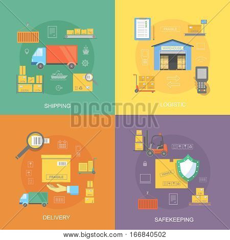 Warehouse flat set of logistics service, safekeeping, quality delivery, shipping isolated vector illustration