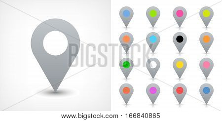 Map pin sign location icon with drop shadow in flat simple style. Gray and black blue cobalt yellow green red magenta orange pink violet purple gray brown shapes Vector 8 EPS