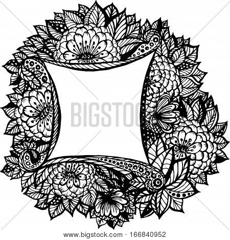Gorgeous floral ramkas leaves - Vector image