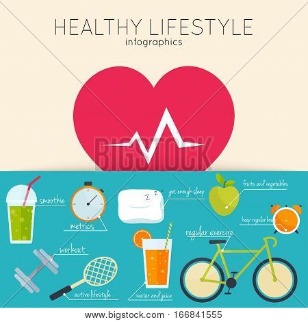 Concept of healthy lifestyle infographics. Icons for web: fitness food and metrics. Flat design vector illustration.