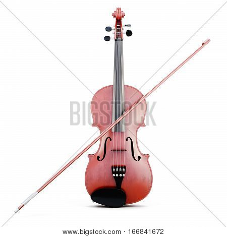 Violin And Bow Isolated. Front View. 3D Rendering