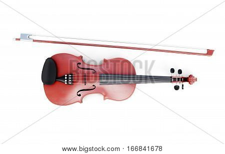 Violin Top View Isolated On White Background. 3D Rendering