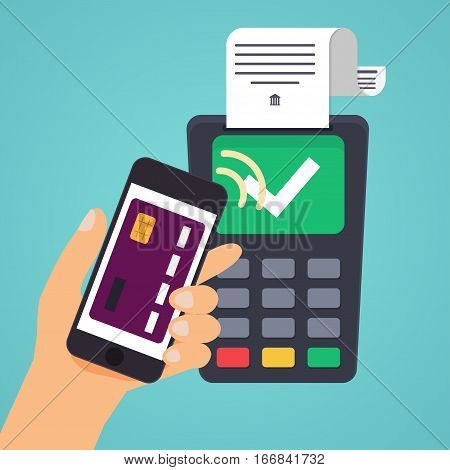 Contactless payment. Male hand holding credit card. Illustration of wireless mobile payment by credit card. Flat design modern vector illustration concept.