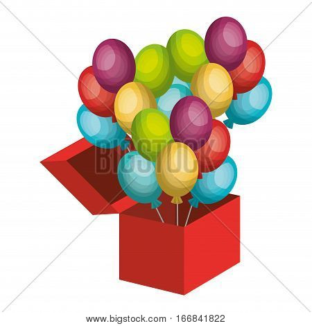 surprice box with balloons party vector illustration design