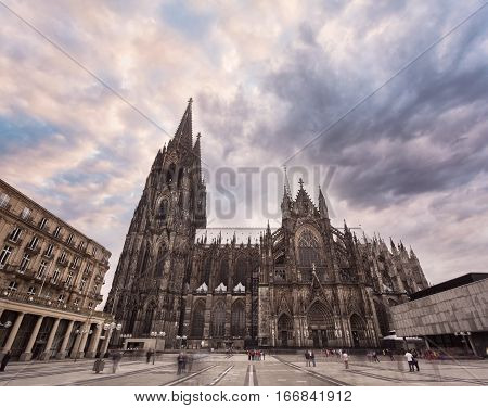 Cologne Cathedral on the south side and Square Roncalli in Cologne, Germany