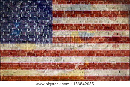 American flag painted on a brick wall