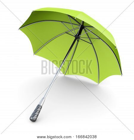 Green Umbrella Isolated On White Background. 3D Rendering