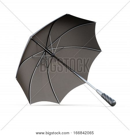 Open Black Umbrella Isolated On White Background. 3D Rendering