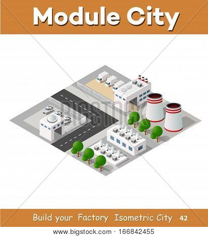 The perspective view of the landscape of industrial objects plants factories parking lots and warehouses. Isometric top view the city with streets buildings and trees. 3D city construction industry