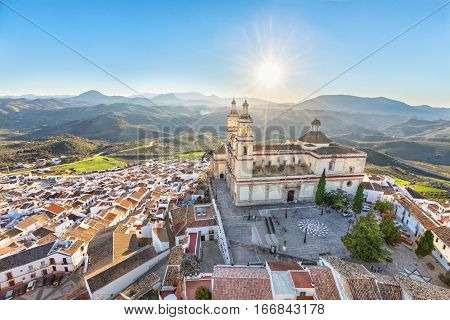 Aerial view of Olvera town with church of Our Lady of Incarnation Cadiz povince Andalusia Spain