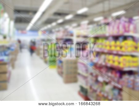 Supermarket abstract blur background. Shopping mall defocused photo for banner template or backdrop. Sale season blurry image. Shopping displays and shoppers in blur. Empty supermarket blurry picture