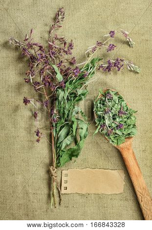 Fireweed. Dried herbs for use in alternative medicine spa herbal cosmetics herbal medicine preparing infusions decoctions tinctures powders ointments butter tea bath.